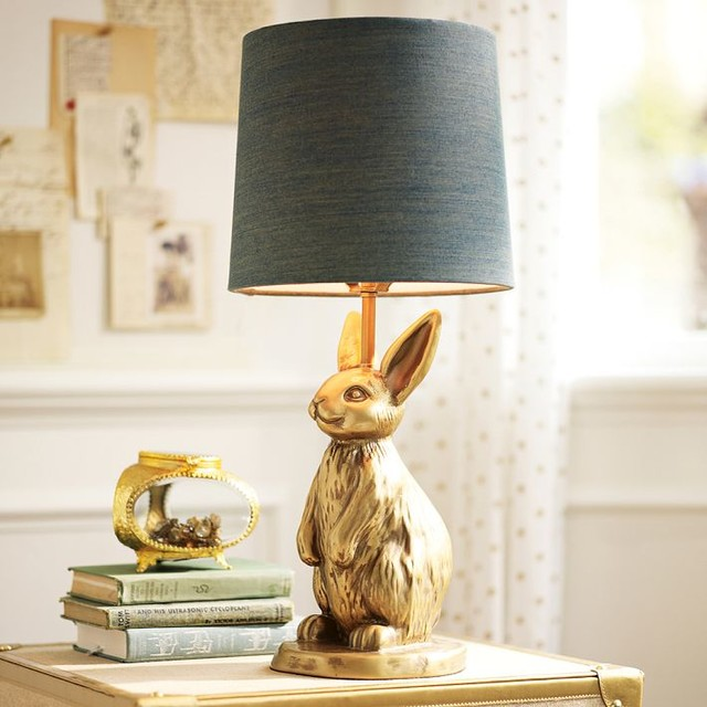 The Emily Meritt Brass Bunny Table Lamp Eclectic
