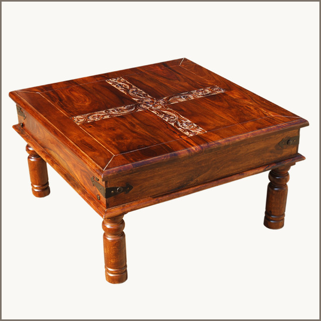 Camelot Carved Floral Cross Indian Rosewood Coffee Table
