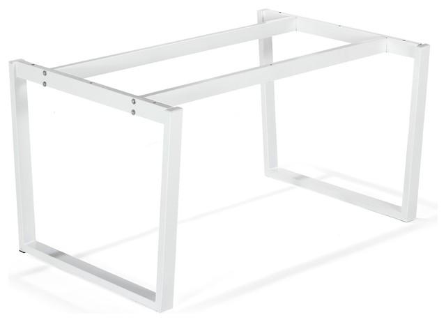 Vario moma pi tement en acier blanc contemporain - Plateau et pieds de table ...