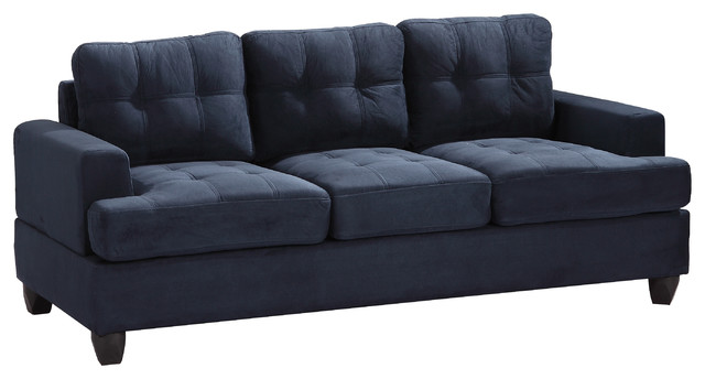 Tufted Sofa Navy Blue Suede Traditional Sofas By