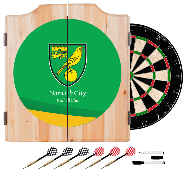 Premier League Norwich City Dart Cabinet Includes Darts And Board - Modern - Darts And ...
