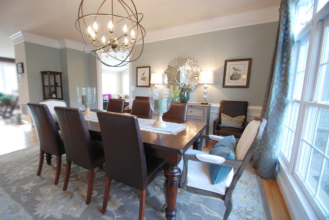 Transitional Chandeliers For Dining Room Dining Room With Orb Chandelier