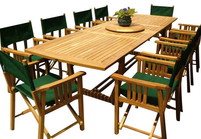 Veranda 11 Piece Director Chair Teak Dining Set Modern