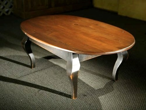Oval Wood Coffee Table With Black French Legs Farmhouse