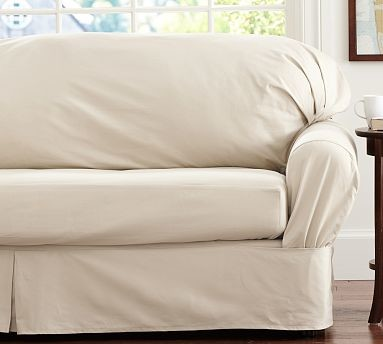 Twill Square Cushion Separate Seat Tailored Loose Fit Slipcover Small Sofa Par Traditional