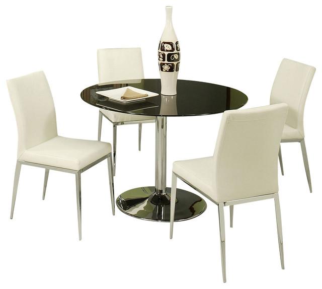 pastel sundance 5 piece black glass dining room set