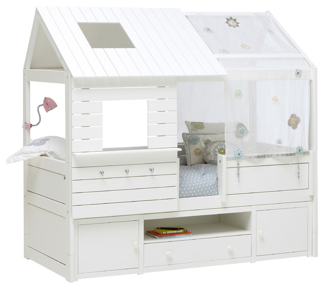 White Silversparkle Low Sleeper Cabin Bed With Trundle