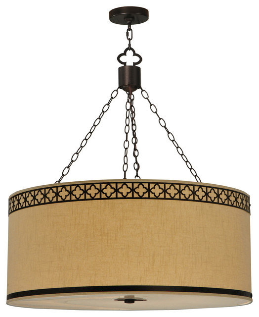 Meyda Lighting 128049 3625W Cilindro Quatrefoil Fabric