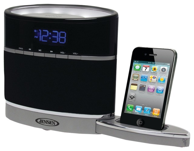 jensen iphone ipod docking alarm clock radio with night light modern home electronics by. Black Bedroom Furniture Sets. Home Design Ideas