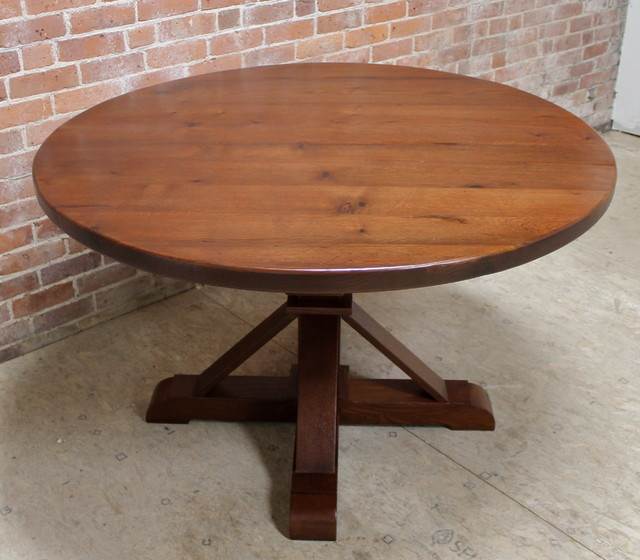 Round Reclaimed Barn Wood Dining Table