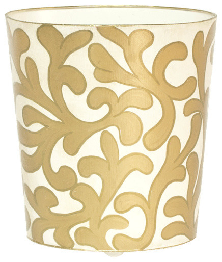 Worlds away oval wastebasket cream and gold contemporary for Cream and gold bathroom accessories