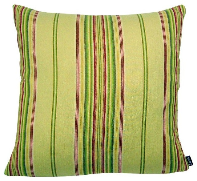 Beach Style Pillows : Cottage Stripe - 18X18 Throw Pillow - Beach Style - Decorative Pillows - by Zeckos