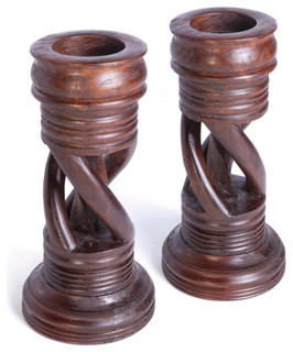 Pair of spiral candlesticks set of 2 arts crafts for Arts and crafts candle sconces