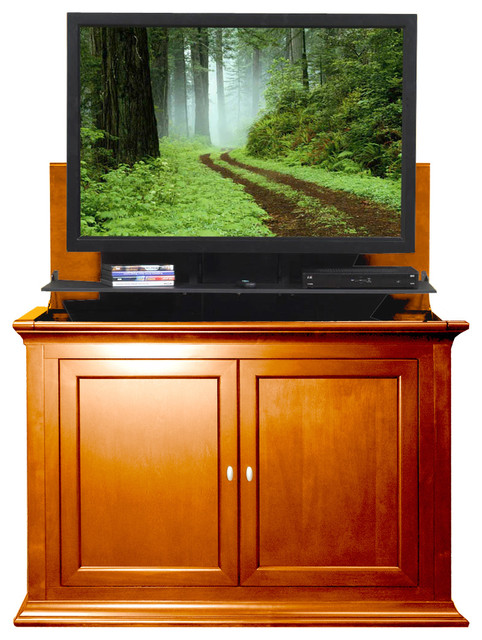 Highland tv lift cabinet for flat screen tv 39 s up to 46 for Tv lift consoles for flat screens