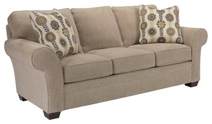 Broyhill Furniture Zachary Queen Goodnight Beige Sleeper Sofa Transitional Sofas by LuxeDecor