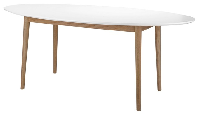Bergen table de repas ovale blanc et ch ne l180cm scandinave table mang - Table repas scandinave ...