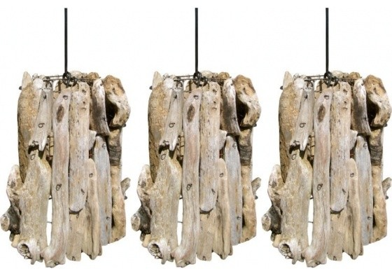 driftwood pendants set of 3 bord de mer suspension luminaire par ecofirstart. Black Bedroom Furniture Sets. Home Design Ideas