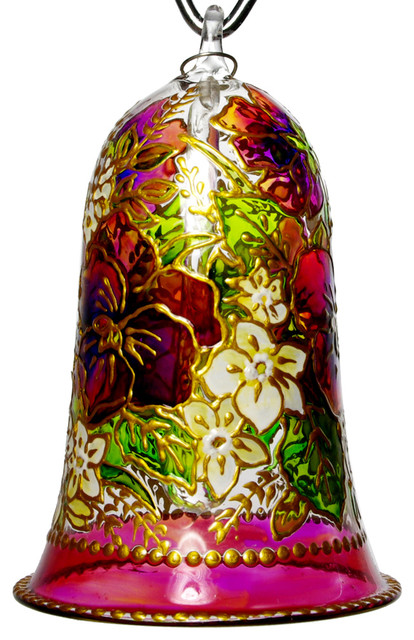 Field of flowers hand painted glass bell ornament