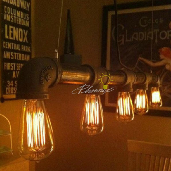 Commercial Lighting In Phoenix: Water Pipe With Edison Bulb Antique Industrial Chandelier