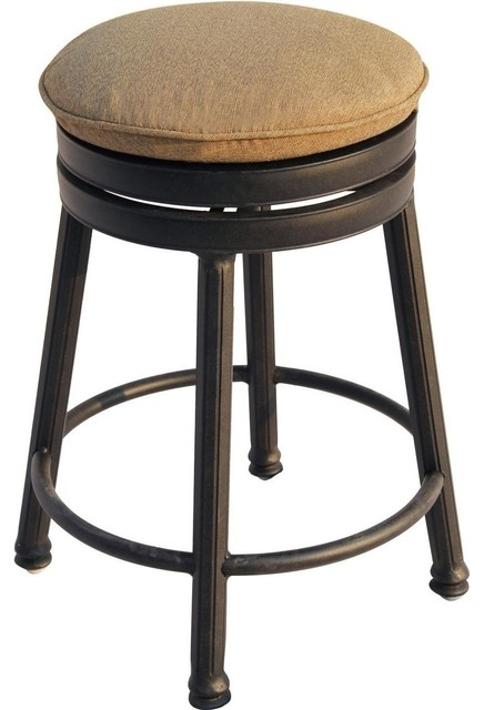 Darlee Round Backless Counter Height Swivel Bar Stool Transitional Outdoo