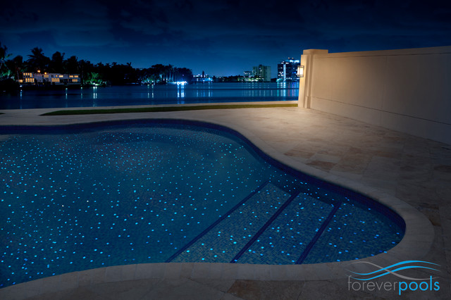 Glowing in the dark glass tile pool modern outdoor Swimming pool decorative tiles