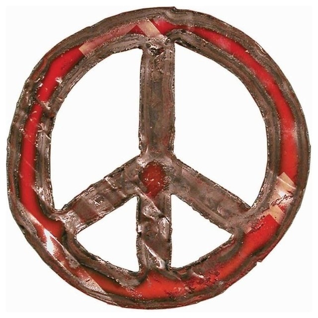 Peace Sign Wall Decor Metal : Groovystuff metal art peace sign s red contemporary