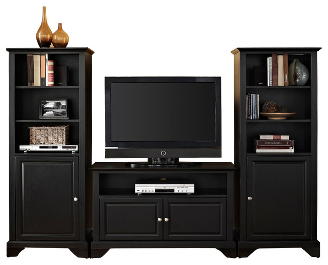 "LaFayette 42"" TV Stand and Two 60"" Audio Piers in Black Finish - Traditional - Entertainment ..."