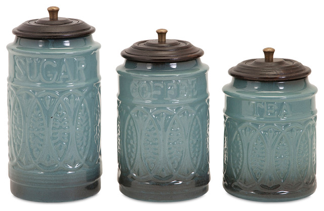 Taylor Ceramic Canisters Set Of 3 Traditional Kitchen