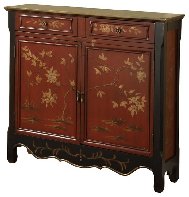 Red oriental two doors drawers storage console table with for Sofa table with drawers and doors