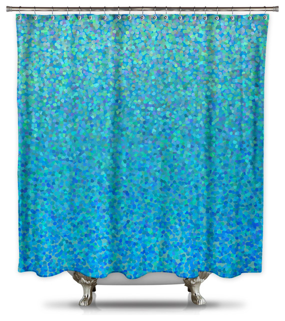 Catherine Holcombe Blue Raspberry Fabric Shower Curtain Standard Size Contemporary Shower