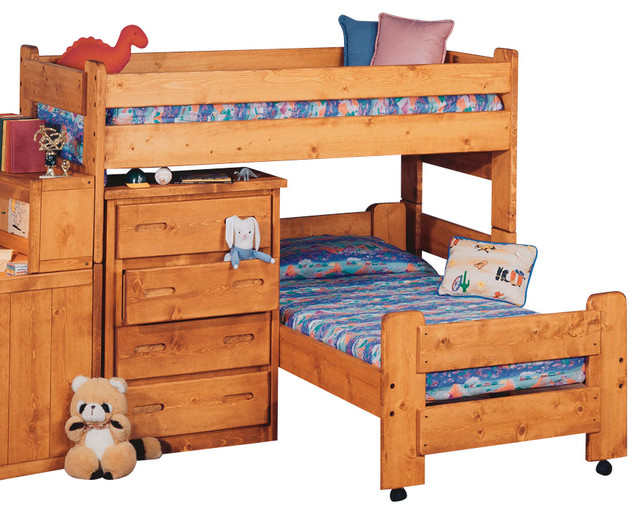 Chelsea Home Twin Over Twin Junior Loft Bed In Cinnamon Traditional Bunk Beds By Beyond Stores