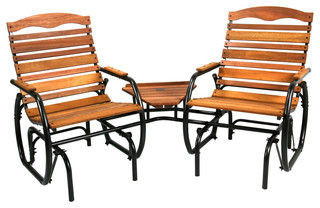 Jack Post 2 Seat Wood Glider With Table Outdoor Gliders
