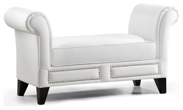 Baxton Studio Marsha White Modern Scroll Arm Bench - Transitional - Indoor Benches - other metro ...