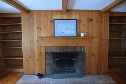 Knotty Pine Fireplace, built-ins and Accent wall help!