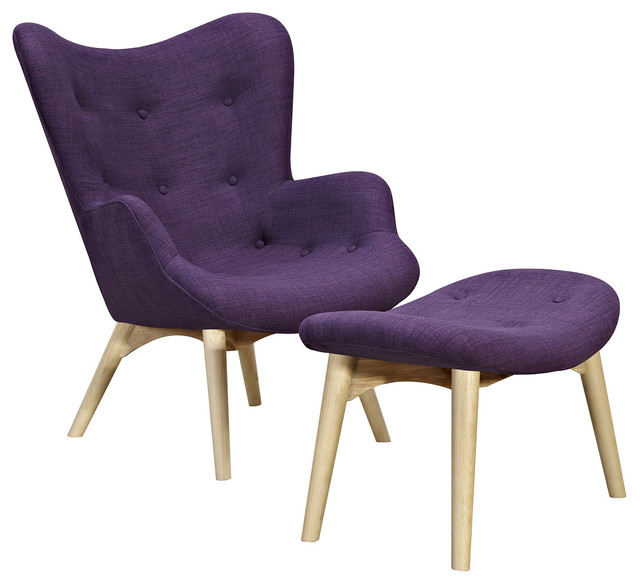Plum Purple Aiden Chair Natural Midcentury Armchairs