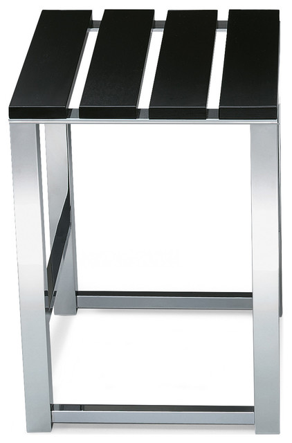 DWBA Backless Stool With Chrome Legs And Wood Lacquer Seat, Black ...