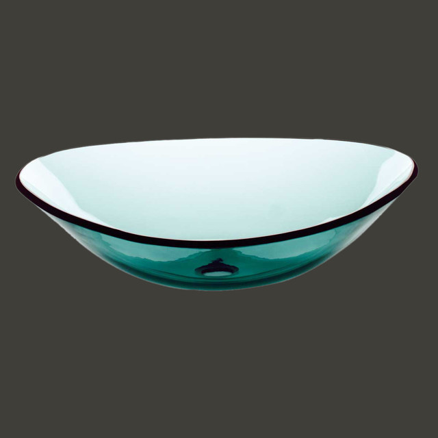 Vessel Sinks Green Glass Sweet Pea Boat Shape Vessel Sink Modern Bathroom Sinks