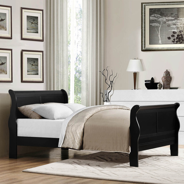 Tribecca Home Canterbury Louis Phillip Black Full Size Sleigh Bed Contemporary Bedroom