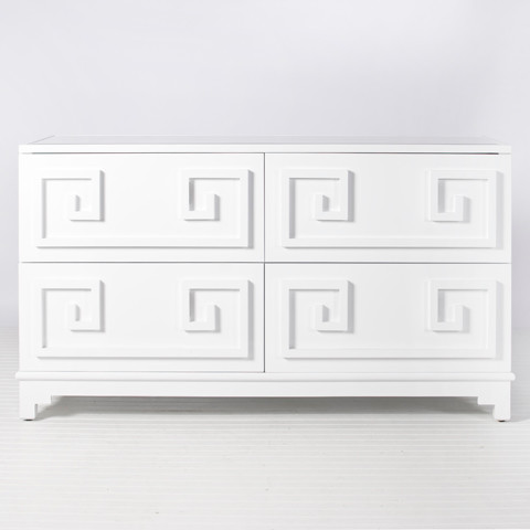 Worlds Away Werstler White Lacquer 4 Drawer Dresser Contemporary Furniture Charlotte By