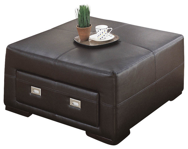 monarch storage ottoman chocolate brown leather