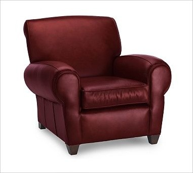 ... , Leather Berry Red - Traditional - Recliner Chairs - by Pottery Barn