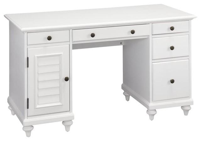 Brushed White Pedestal Desk Traditional Desks And