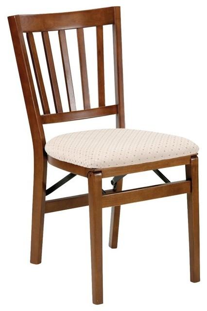 Meco School House Upholstered Folding Chair Set of 2 Fruitwood 550VFWBL