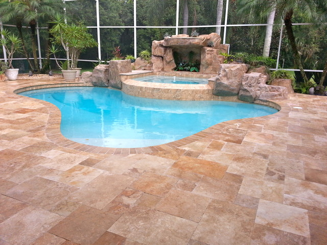 Travertine pavers french pattern country classic for Pool design pattern