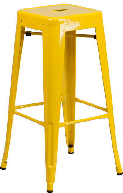 Marias Backless Yellow Metal Barstool 30quot Industrial  : industrial outdoor bar stools and counter stools from www.houzz.com size 408 x 640 jpeg 47kB