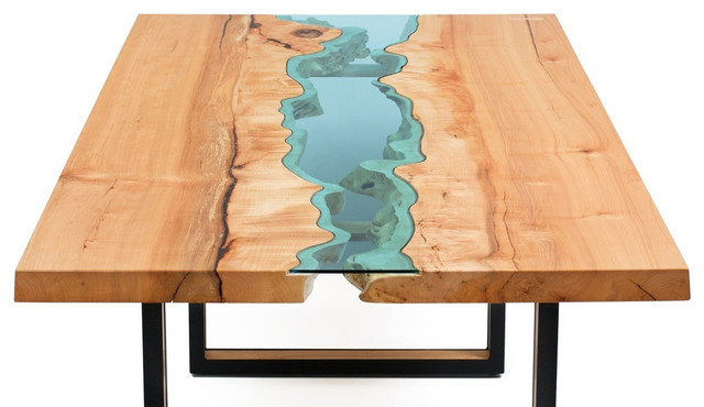 Live edge wood dining table with Glass River
