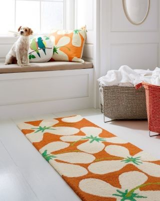 Hable hooked wool rug hibiscus 2x3 modern rugs for Garden room 2x3