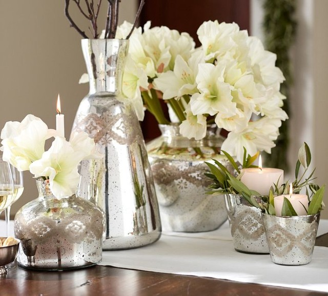 Etched Mercury Glass Vases Contemporary Vases By