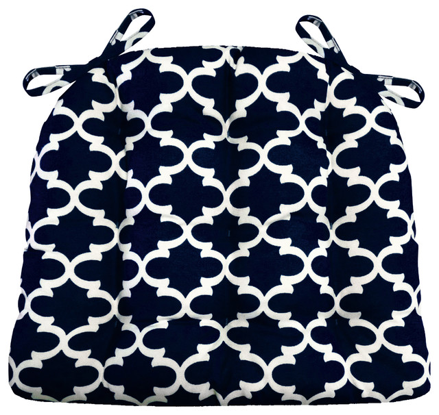 Fulton Ogee Navy Blue Quatrefoil Chair Cushions Contemporary Seat