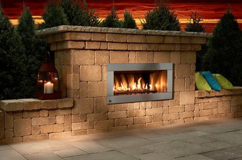Contemporary Stone Outdoor Fireplace Kit Craftsman Outdoor Fireplaces Other Metro By